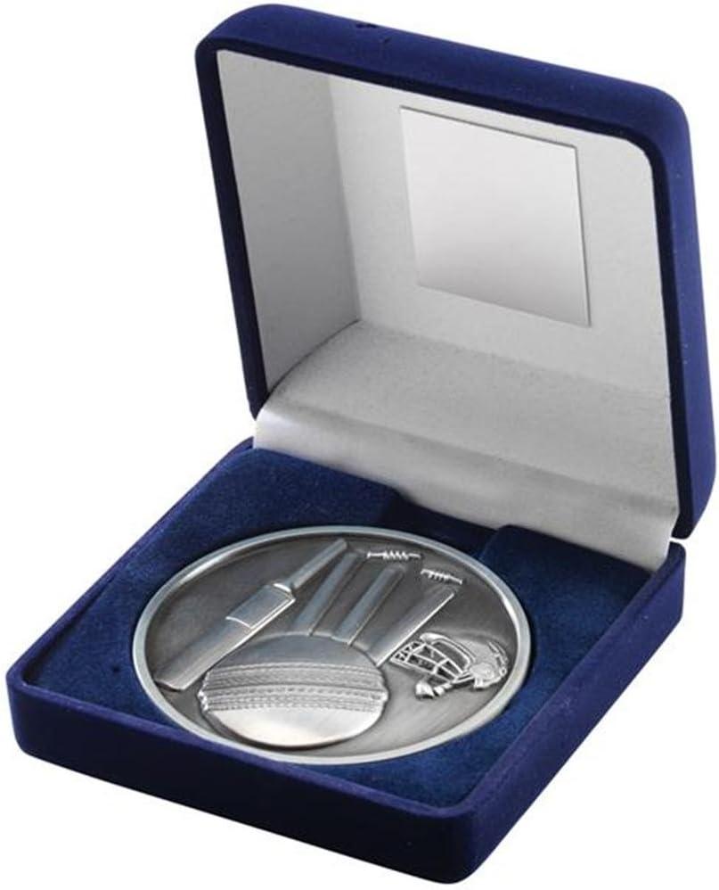 70 mm Cricket medalla en 2 colores caja forrada de terciopelo con Silver JR6-TY141B: Amazon.es: Deportes y aire libre