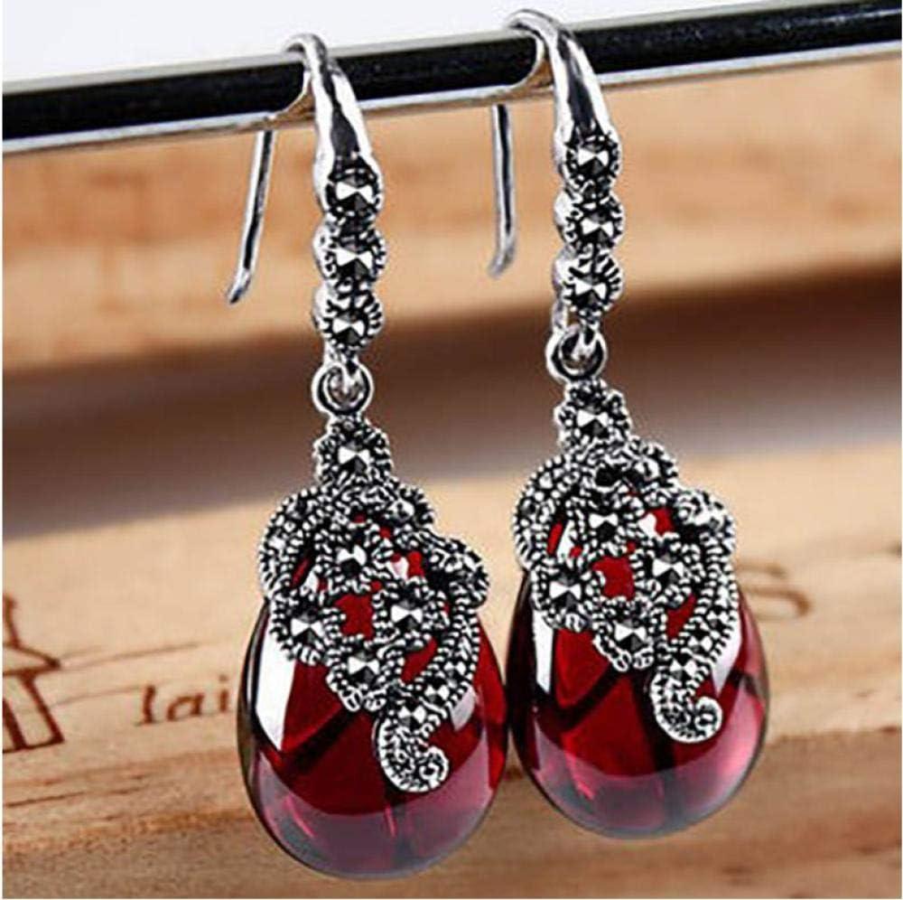 onedayday 925 Pendientes de Piedras Preciosas en Forma de Gota, Pendientes de rubí Verde para Damas, Fiesta de joyería