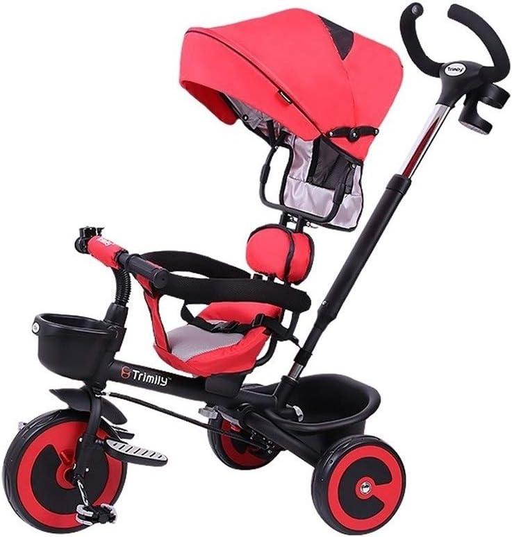 子供三輪車 SONG キッズベビーカー ベビーバイク 押して乗る 1-3-6歳の子供用おもちゃ 便利なベビーカー 回転シート付き 少年少女の誕生日プレゼント (Color : Red)