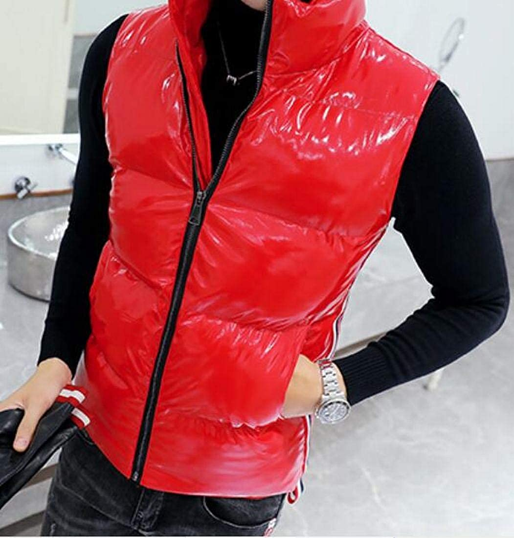 Bravepe Mens Solid Color Sleeveless Stand Collar Thermal Down Quilted Coat Vest Waistcoat