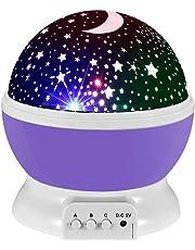 Lampada di Illuminazione Notturna, Rotante Stella Luna Cielo Proiettore per Bambini Camera da Letto (4 Perle Luminose LED,3 Luci di Modalità,Powered by DC5V/AAA Batteria e Cavo USB)