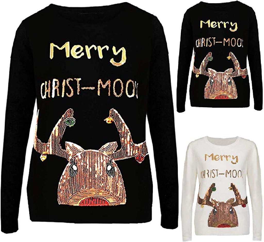 RUIVE Women/'s Sequin Christmas Pattern Print Tops Long Sleeve Crew Neck Basic Shirt Girls Cute Pullover Sweatshirt
