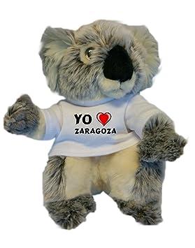 Koala personalizada de peluche (juguete) con Amo Zaragoza en la camiseta (ciudad / asentamiento): Amazon.es: Juguetes y juegos