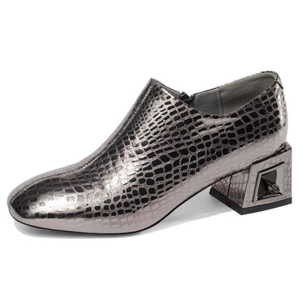 Silver Women's Leather high Heels, Round Head Side Zip Metal Jewelry mid Heel Oxford shoes