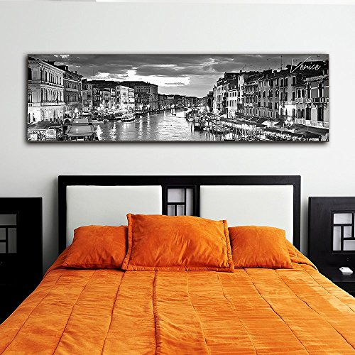 "Black & White Panoramic Cities 14""X48"" Canvas Venice City 14"