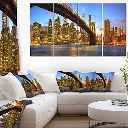 Manhattan 4 Piece - Designart Manhattan Panorama with Skyscrapers Cityscape Home Decor Wall Canvas Art Wall Photgraphy Artwork Print