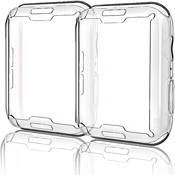 for Apple Watch Case iWatch Screen Protector TPU All-Around Protective Case Clear Ultra-Thin Cover for Apple Watch Series 3, 2 Pack case (Clear, for 38mm Apple Watch case)