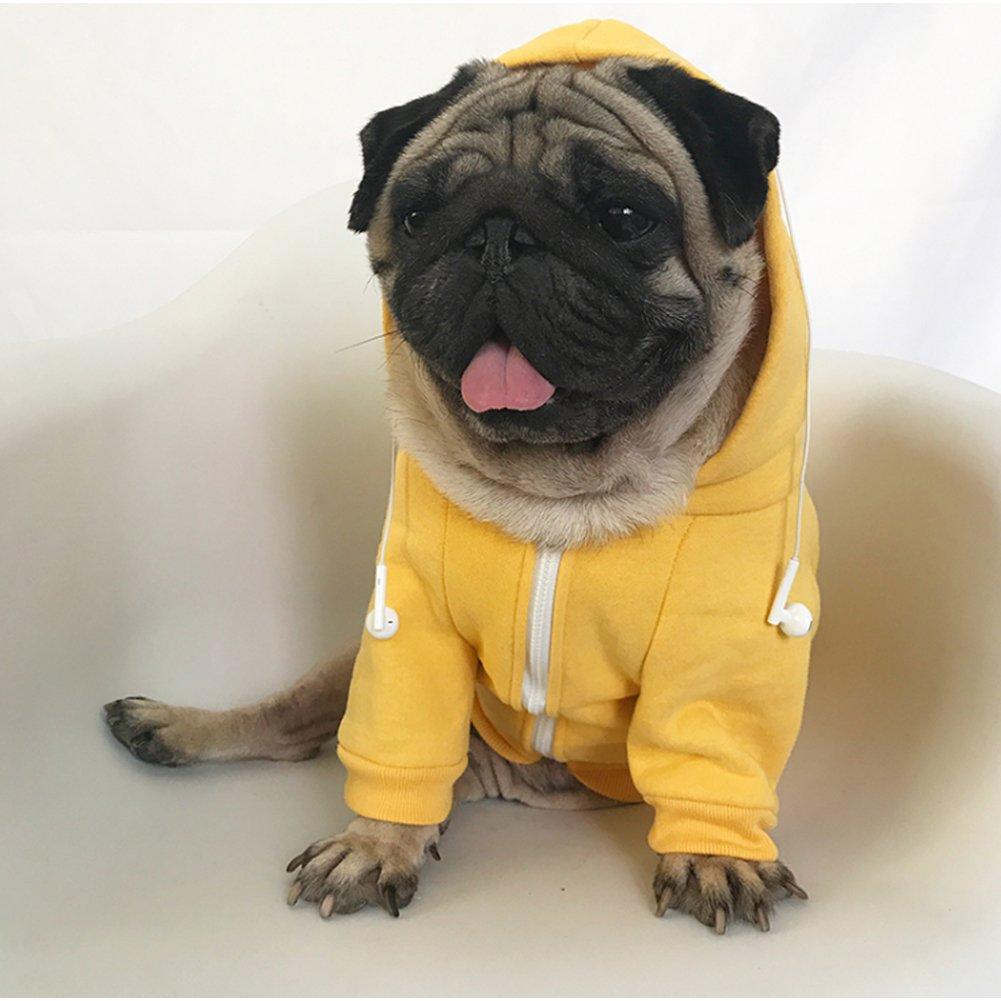 giallo Meiwash Zipper Hooded Pet Abbigliamento Cane Gatto Vestiti Cute Pet Abbigliamento caldo con cappuccio Bulldog francese Pug(XL-grande