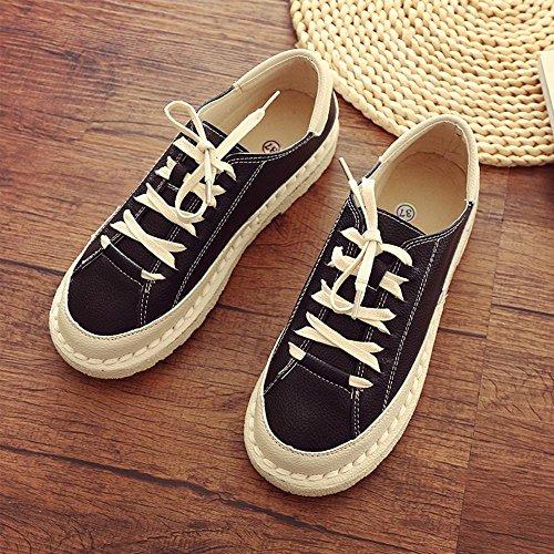 fondo 40 del Dedo bajo de del zapatos cordones de de sólido black de color ocasionales NSX zapato plano redondo del cuero pie con punto las top mujeres 8fnqp