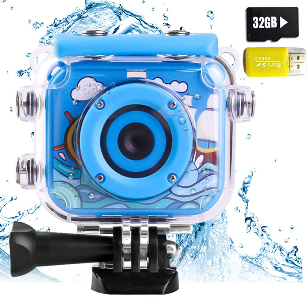 denicer Waterproof Action Kids Camera with 2.0 Inch LCD Display 12MP HD Underwater Camera Camcorder with 32G SD Card for 4-12 Boys and Girls Festive Gift-Blue