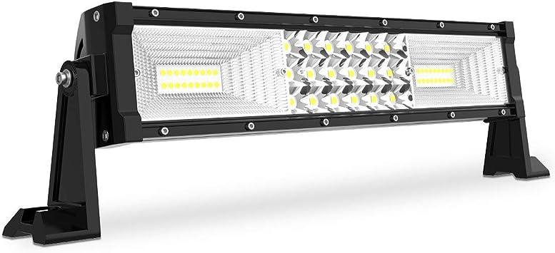 LED Work Light Bar 12 In Triple Row Flood 7D for Jeep Truck Car