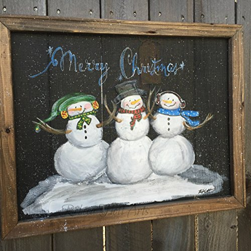 Holiday snowman trio, recycled, hand painted window screen