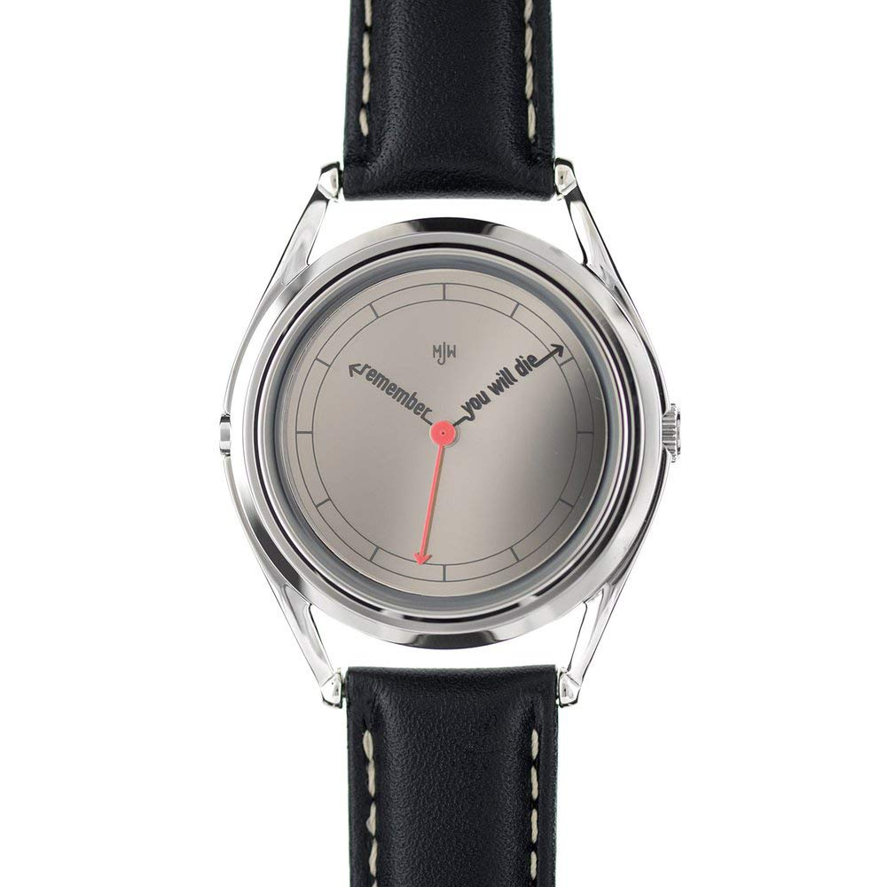 Mr Jones Unisex The Accurate Stainless Watch - Black Leather Strap - Silver Dial - 10-P1