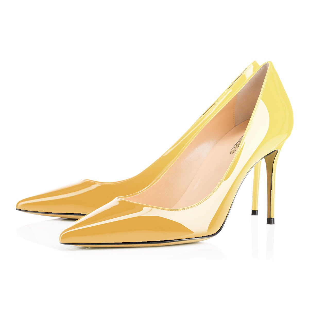Modemoven Women's Yellow Pointed Toe Pumps Slip-on Office Business High Heels Sexy Stiletto Shoes 10 M US by Modemoven (Image #3)