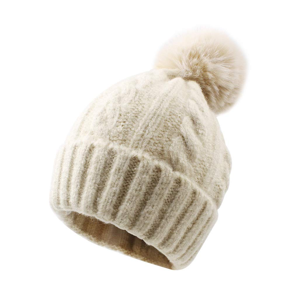 Chihom Infant Baby Boys Girls Knitted Hat with Earflaps Cute Beanie Skull Cap Spring Travel Cuff Bear Caps