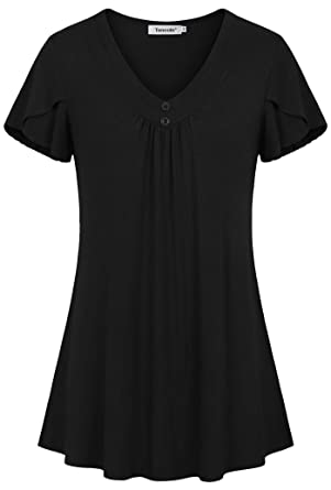 6c724514665c48 Tencole Womens Ruffle Short Sleeve Office Blouses Tops Pleated ...