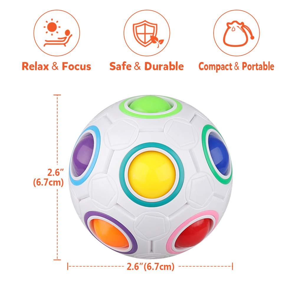 D-FantiX Rainbow Puzzle Ball 4 Pack, Magic Rainbow Ball Puzzle Cube Fidget Balls Puzzle Brain Games Fidget Toys for Adult Kids White by D-FantiX (Image #3)