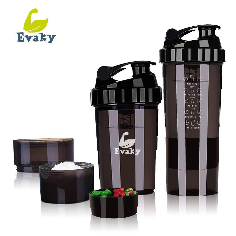 Protein Shaker Bottle - 3 Strati di Twist e Lock Storage con 16 oz di proteine Shaker Cup con Storage/Diet Shaker/Bottiglia d'Acqua 500ml con Cucchiaio (Nero) SIVED