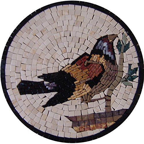 Birds Medallions (Mosaic Medallion - The Bullfinch Bird)