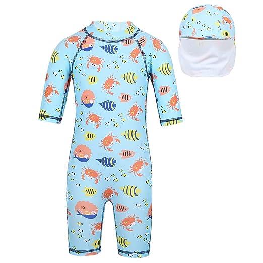 47705f090446 TiaoBug Kids Boys Girls Rash Guard Shark Swimsuit One-Piece Jumpsuit Swimwear  Bathing Suit Crab