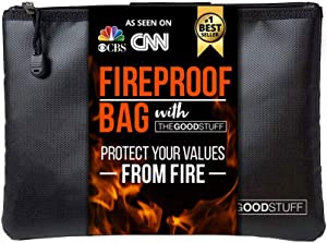 The Good Stuff Water and Fireproof Pouch (2000?) - Protect Money, Passports, and Documents with a Fireproof Money Bag for Cash, Safe Money Storage Bags Fire Proof Waterproof