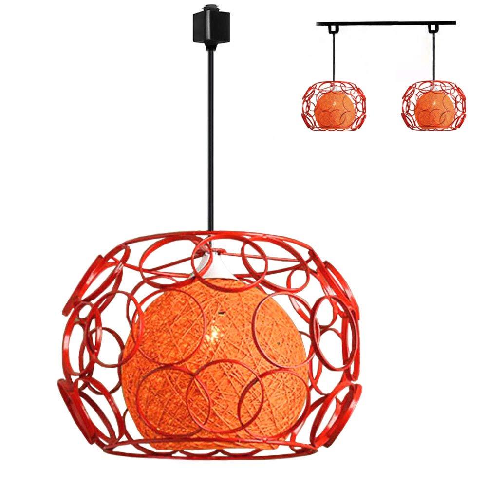 Kiven H-Type 3 Wire Track Light Pendants Length 4.9 feet Restaurant Chandelier Decorative Chandelier Instant Pendant Light Bulb not Include Handmade Rattan Ball Pendant Lamp (TB0260-B) Orange