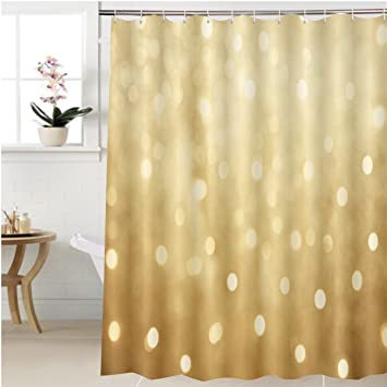 Gzhihine Shower Curtain Golden Beautiful Blurred Bokeh Background With Copy Space Holiday Texture Wallpaper Glitter Bathroom