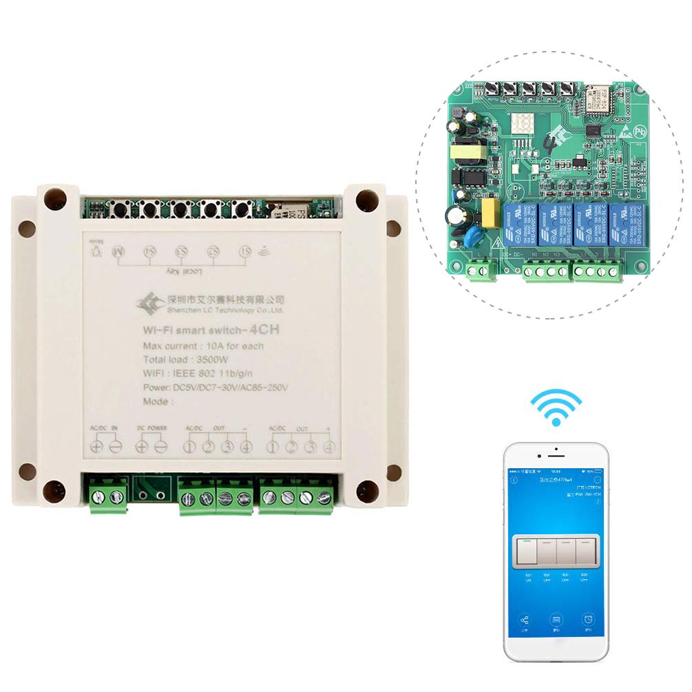 Whdts 4 Channel Wifi Momentary Inching Self Locking Interlocking Relay Delay Switch Module Smart Home Remote Control Ac 220v Compatible With Alexa 12v Radio Shack Google