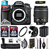 Holiday Saving Bundle for D7100 DSLR Camera + AF-P 18-55mm + Battery Grip + 64GB Class 10 Memory Card + 2yr Extended Warranty + 32GB Class 10 Memory Card + Backup Battery - International Version