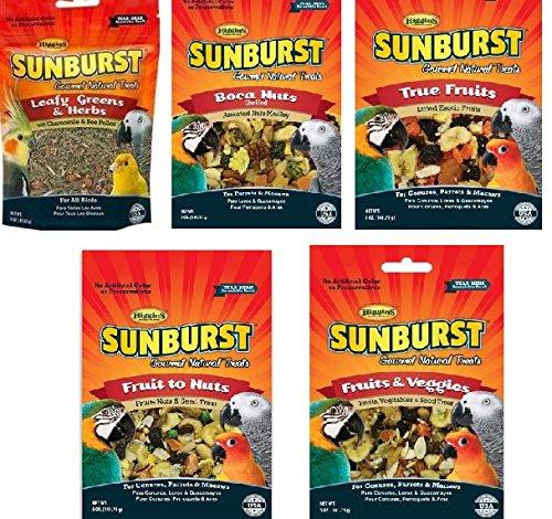 Higgins Gourmet Natural Bird Treats (Variety, 5 Pack) - Sunburst Leafy Greens