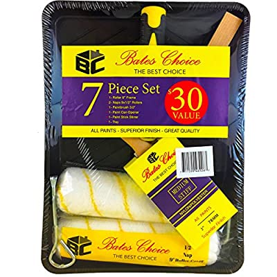 BATES CHOICE PAINT TRAY SET: 1 Paint Brush, 2 Paint Roller Naps, 1 Paint Roller Frame and Paint Tray all included; Professional Quality Paint Brushes and Rollers