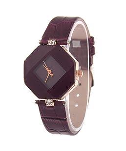 TONSEE Womens Ladies Fashion Rhinestone Wristwatch Quartz Watch (Coffee)