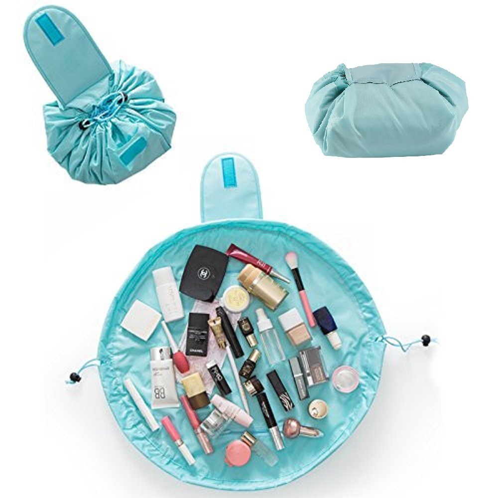 Shoze Travel Cosmetic Bag Drawstring Large Capacity Folding Portable Multifunction Makeup Pouch Storage Organiser for Women Girl Sky Blue SD