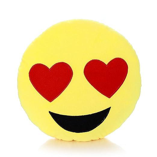 MAXGOODS Emoji Emoticón Almohada Cojín Suave Peluche Felpa Almohadilla Redonda (Opciones de Siete Estilos) (Ojo Corazón)