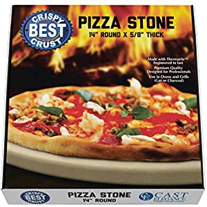 Make Crispy Crust Pizza. Use the Only Pizza Stone with Thermarite (Engineered Tuff Cordierite). Durable, Certified Safe. Made for Ovens & Grills. 14 Round. Recipe Ebook+ Free Scraper