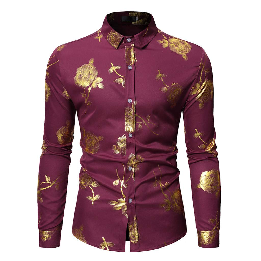 NUWFOR Fashion Men's Long Sleeve Painting Large Size Casual Top Blouse Shirts(Red,XL US Chest:48.82''