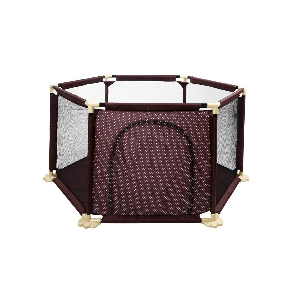 夏の赤ちゃんベビーサークル折りたたみ式丈夫で耐久性のある折り畳み式安全家庭用防護柵200ボール屋内用と屋外用に適しています06歳の赤ちゃん茶六角   B07S6G31NP