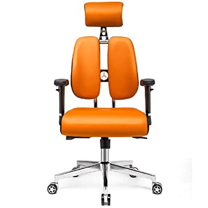 Awesome Hourseat Office Desk Chair Pu Leather Ergonomic Office Chair Lumbar Support Desk Executive Chair Adjustable Headrest Backrest Orange Squirreltailoven Fun Painted Chair Ideas Images Squirreltailovenorg