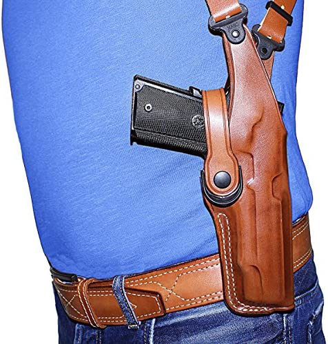 "Vertical Shoulder Holster Double Mag Case Para USA 1911-5/""BBL W//O Rail #5009#"