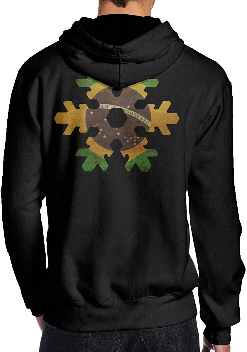 Mens Brazil Flag Snowflake Hooded Sweatshirt Casual Athletic Pullover Tops Black