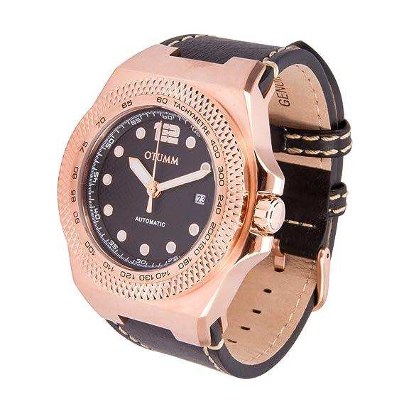 Otumm Automatic AUA001 45mm Rose con Correa de Cuero Negro Unisex Reloj: Amazon.es: Relojes