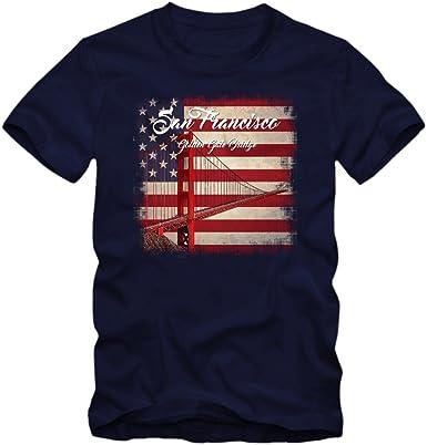 Golden Gate Bridge Camiseta | USA | Hombre | El Simbolo | The Golden City | San Francisco | T-Shirt: Amazon.es: Ropa y accesorios