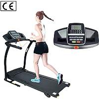ATIVAFIT Elektrisch Laufband mit große Lauffläche, 1PS, 12 KM/H, klappbare Laufmaschine mit 12 Trainingsprogrammen, LCD Monitor Bildschirm & Dämpfungssytem, Fitnessgerät zum GEH- und Lauftraining