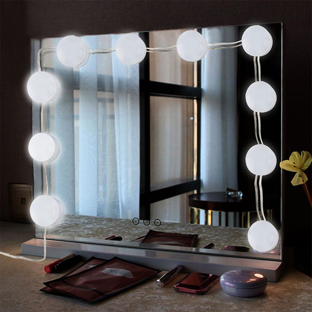 AOLVO Vanity Lights,Makeup Mirror Lights Hollywood Style LED Vanity Mirror Lights Kit with Dimmable Light 10 Bulbs Fixture Strip for Makeup Table Set in Bathroom, Dressing Room,Bedroom