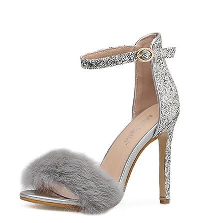 5924ca1961e Kitzen Women Furry Feather Sandals High Heel Stilettos Peep Toe Ladies Pumps  Shiny Ankle Strap Shoes
