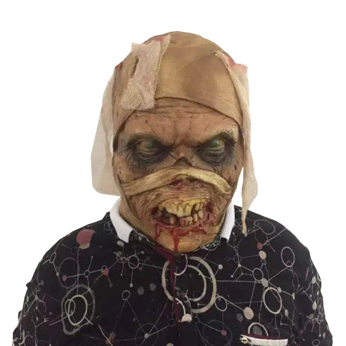 Xiao-masken Halloween Mumien Zombie Geister Maske Latex Blautig Unheimlich Extrem Ekelhaft Heikles Vollgesichtsmaske Erwachsenenmaske Kostüm Party Cosplay Prop