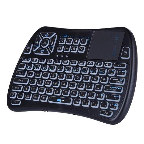 Mini teclado inalámbrico Bluetooth con Touchpad, teclado retroiluminado RGB y control remoto universal de TV
