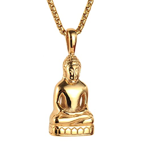 HIJONES Hombre Acero Inoxidable Oro/Plata Vintage Amitaba Buda Estatua Colgante Collar