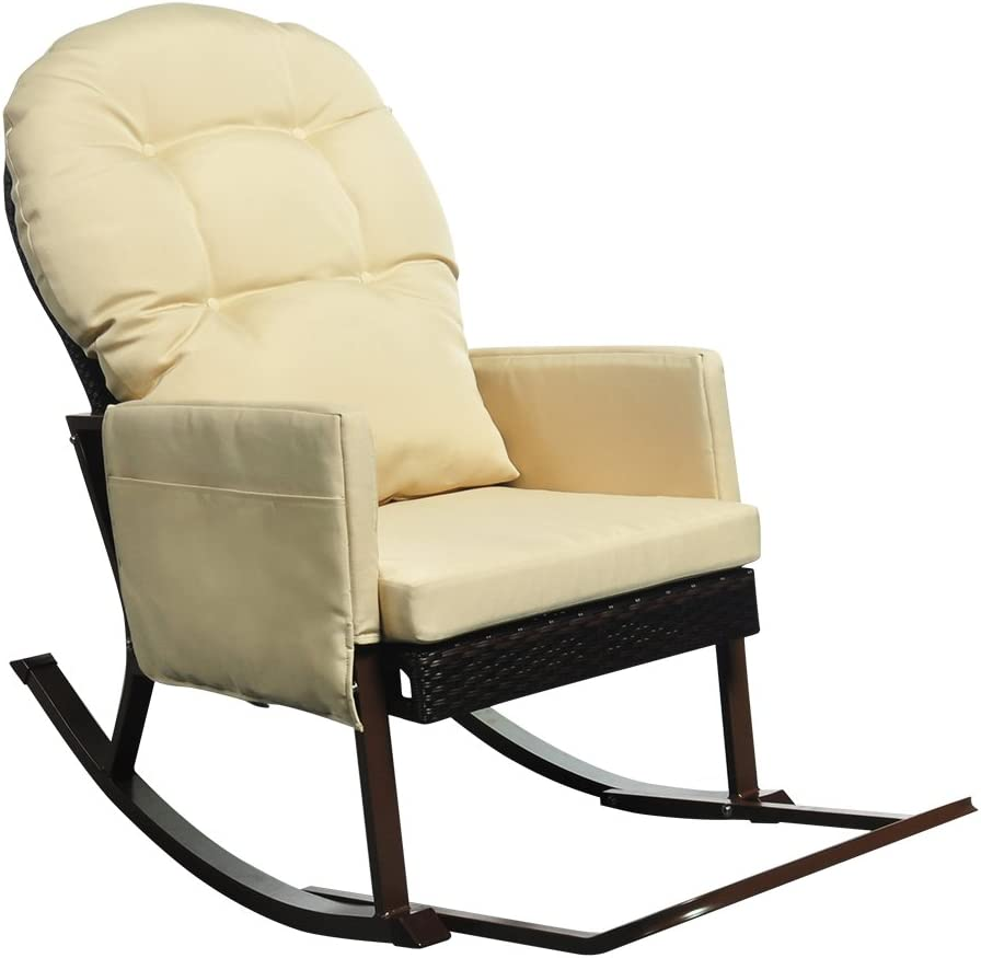 Outdoor Rocking Chair with Foot Rest, All Weather Porch Deck Chair, Outdoor Glider Patio Armchair Lounge Chair, UV Resistant and Anti-Rust Aluminum Frame (Khaki)