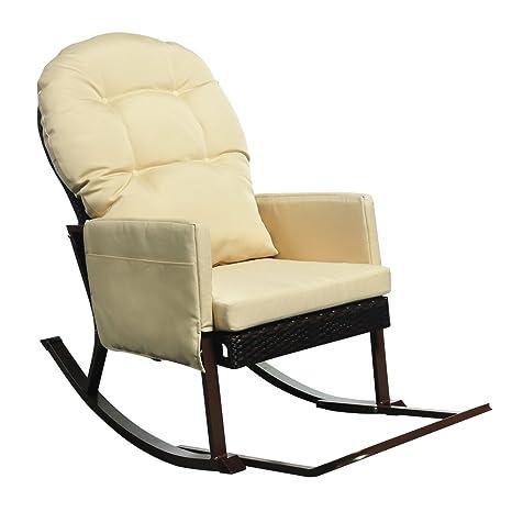 Silla reclinable de mecedora al aire libre de mimbre con ...